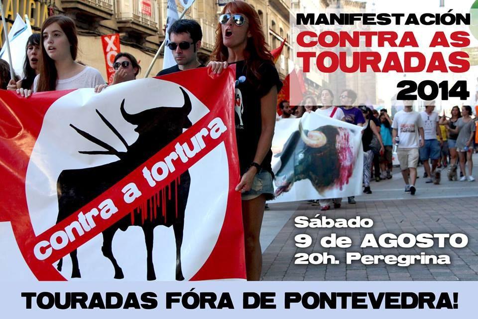 9 de agosto, manifestación contra as touradas en Pontevedra