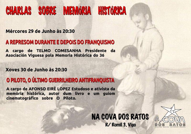 Mércores 29 de Junho e Xoves 30: Charlas sobre memória histórica na Cova dos Ratos