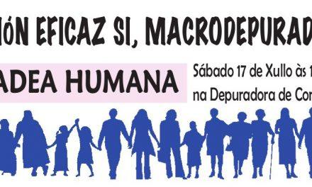 """Cadea humana en Vigo """"Por un saneamento eficaz SI, macrodepuradora NON!!"""