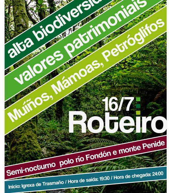 16 de xullo en Redondela: roteiro circular e semi-nocturno polo río Fondón e monte Penide