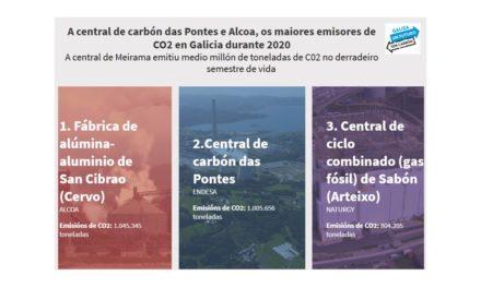 A central de carbón das Pontes e Alcoa son os maiores emisores de CO2 en Galicia