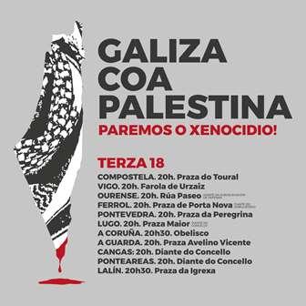 Galiza COA PALESTINA. Concentracións o DÍA 18 DE MAIO